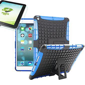 Para Apple iPad 9,7 2018 híbrido exterior caso saco azul + 0,4 H9 temperado vidro