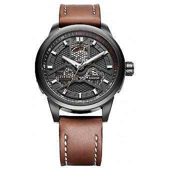 FIYTA Mens Brown Leather Strap Black Case WGA1008.BBR Watch