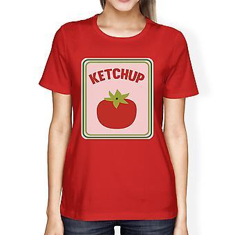 Ketchup Costume di Halloween per adulti Womens Graphic cotone Tshirt