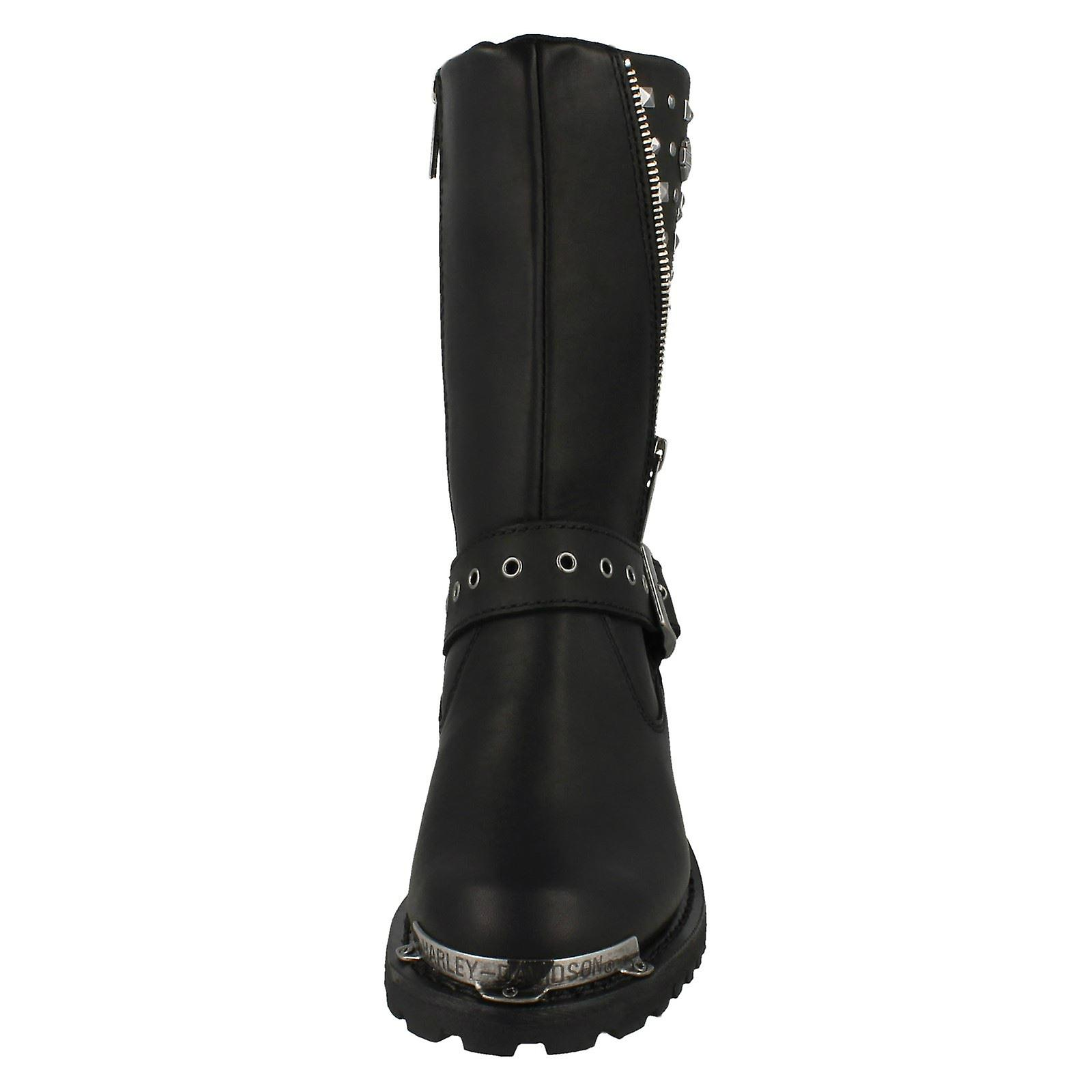 Ladies Harley Davidson Studded Calf High Biker Boots Tanya