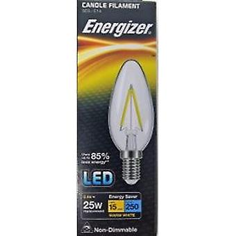 1 X Energizer Filament LED Candle Bulb 2.4W = 25W 250Lumen Warm White SES E14 [Energy Class A+]