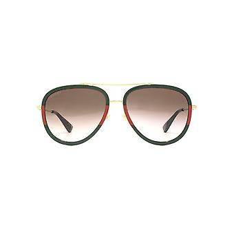 Gucci Pilot Sunglasses In Green Red