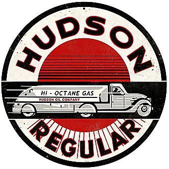 Hudson Regular Gasoline Round Metal Sign (Rnd)