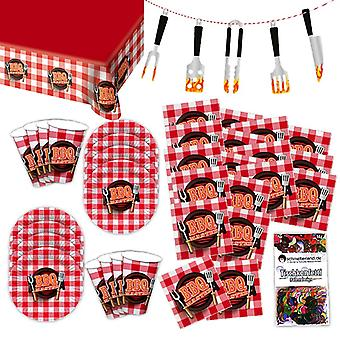 BBQ Meat Party Grillmeister Party Set XL 39-teilig für 8 Gäste Grillparty Deko Partypaket