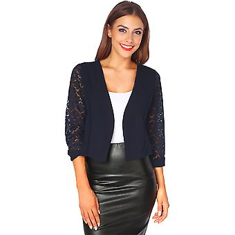 KRISP Lace Back & Sleeve Tailored Shrug