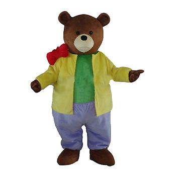 mascot of brown bear dressed in a colourful outfit SPOTSOUND