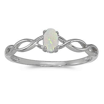 10k White Gold Oval Opal Ring