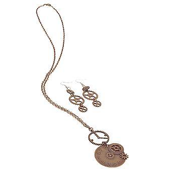 Steampunk Clock Necklace + Gear Earrings