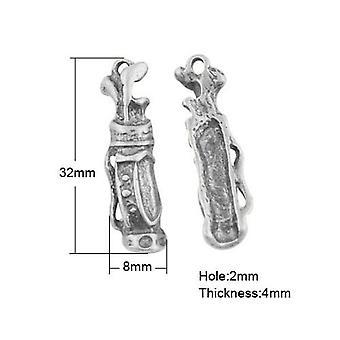 Paket 5 x Antik Silber tibetischen 32mm Golf Bag Charm-Anhänger ZX02630