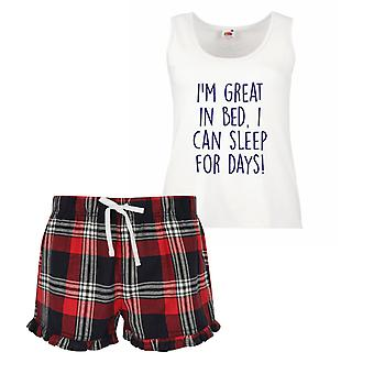 I'm Great in Bed I Can Sleep For Days Ladies Tartan Frill Short Pyjama Set Red Blue or Green Blue