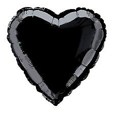 Foil Balloon Heart Solid Metallic Black