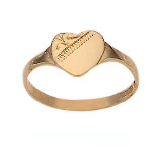 9ct Gold 7x7mm ladies engraved heart shaped Signet Ring Size K