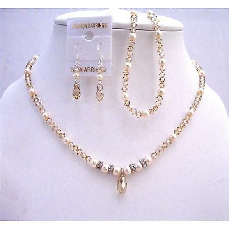 Golden Shadow Swarovski Crystals Bridal Jewelry Set w/ Ivory Pearls