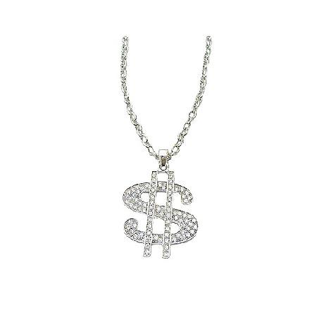 Men Dollar Sign Pendant Necklace Bling Bling Pendant w/ Cubic Zircon