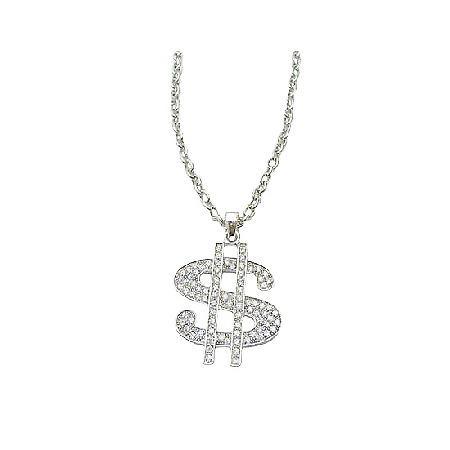 Men Dollar Sign Pendant Necklace Bling Bling Pendant w/ Cubic Zircon