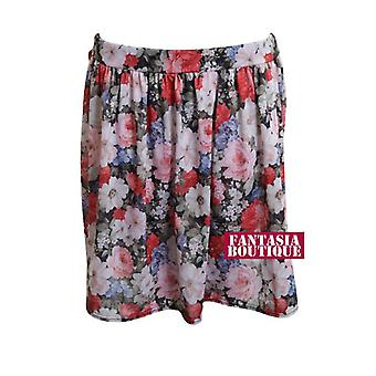 D1359 Gonna corta nuovo Ladies Mesh stampa floreale inserto modello donne