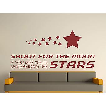 Shoot For The Moon Wall Art Sticker - Burgundy