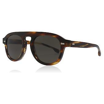Hugo Boss BOSS 1000/S KVI Striped Brown BOSS 1000/S Pilot Sunglasses Lens Category 3 Size 49mm