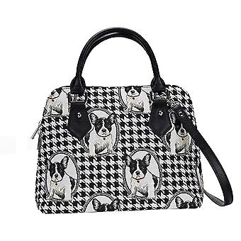 French bulldog top-handle shoulder bag by signare tapestry / conv-fren