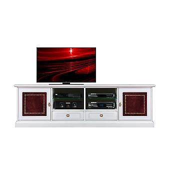 2-metre TV cabinet with leather inserts