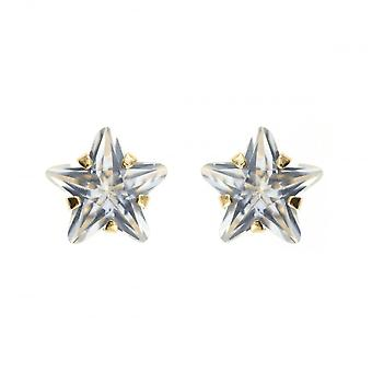 Eternity 9ct Gold Cubic Zirconia Star Stud Earrings