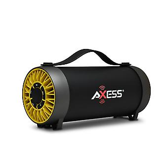 Axess Portable Bluetooth Speaker With Built-In Usb Support and FM Radio - Yellow