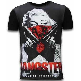 Gangster Marilyn - Digital Rhinestone T-shirt - Zwart