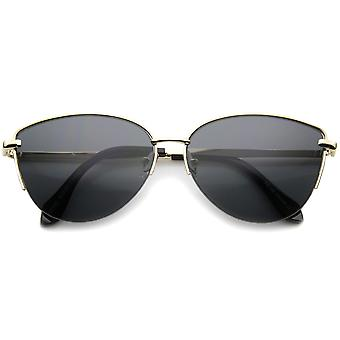 Modern Fashion Oval Semi-Rimless Metal Wire Frame Cat Eye Sunglasses 63mm