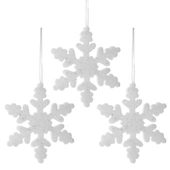 Set of Three 20cm White Glitter Foam Christmas Snowflake Decorations