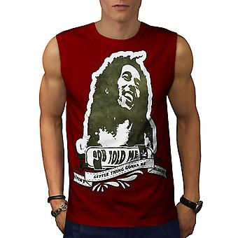 Bob Marley Legend Weed Dope Song Men Red Sleeveless T-shirt | Wellcoda
