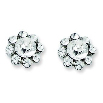 Silver-tone Clear Crystal Post Earrings