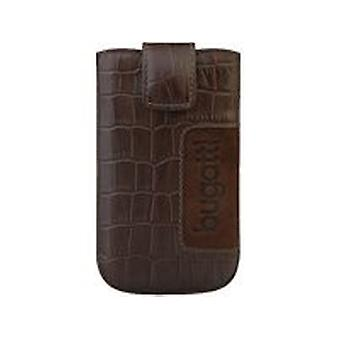 Bugatti SL 81 x 134 mm Croco leather case cover Samsung S2, Sony Xperia in dark brown