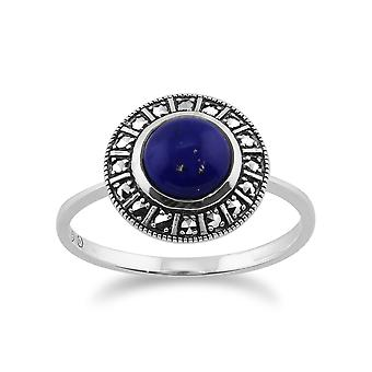 925 Sterling Zilver Art Deco 1.53ct Lapis Lazuli & Marcasiet Ring