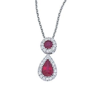 14k White Gold Ruby and Diamond Dangle Pendant with 18