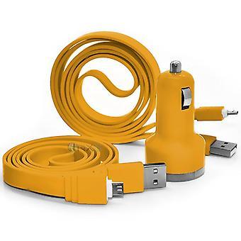 ONX3 BLU Dash L3 gul bil Dual Port 2.1 Amp Mini kugle USB oplader adapter, herunder 2 Micro USB Data Transfer/opladning kabel