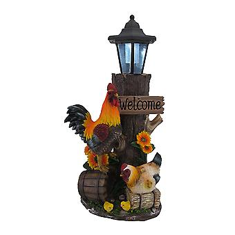 公鸡家庭太阳能LED灯笼雕像和欢迎标志