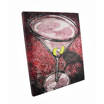 الليمون عالمي الوردي تويست قماش كوكتيل جدار الفن