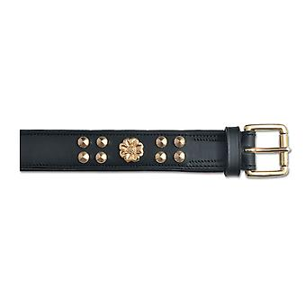 Heritage Deluxe Bull Terrier Leather Collar English Rose Black 25mm X45-54cm Sz 6