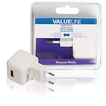 ValueLine AC charger with USB connector, USB A female-AC-contact for home, white 2 (1)