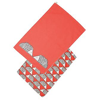 Scion Living Spike the Hedgehog Set of 2 Tea Towels, Red