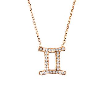 Latelita Zodiac Gemini Sterling Silver Necklace Sign Astrology Pink Rose Gold