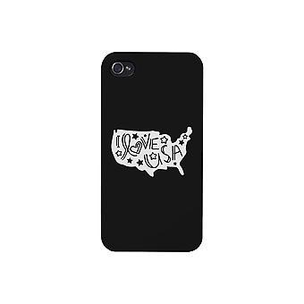 Jag älskar USA svart telefon fallet