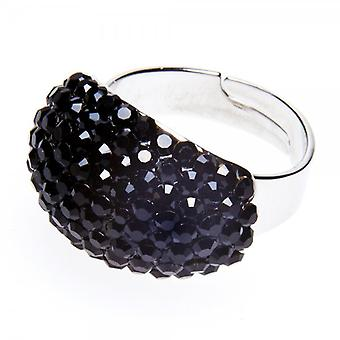 Camille Womens Ladies Fashion Jewellery Black Oval Dome Adjustable Diamante Ring