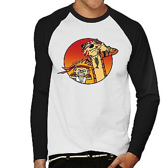 Gaden Pals Street Fighter Calvin og Hobbes mænds Baseball langærmet T-Shirt