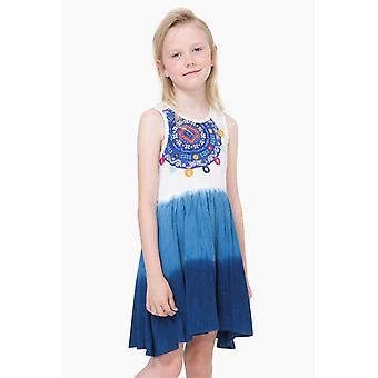 Desigual girls dress white blue with mandala pattern vest Bamako