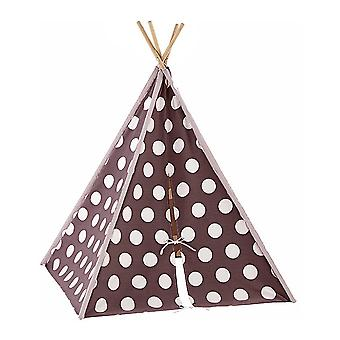 Modern Home Children's Canvas Tepee Set with Travel Case - Brown/White Polka Dot
