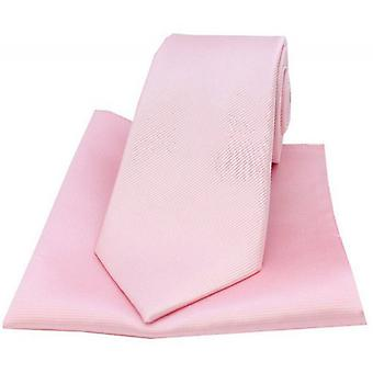 David Van Hagen Diagonal Twill Woven Tie and Pocket Square Set - Pink
