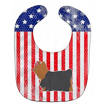 Carolines Treasures  BB3334BIB USA Patriotic Yorkshire Terrier Yorkie Baby Bib