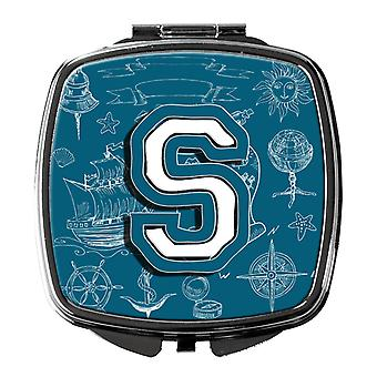 Letter S Sea Doodles Initial Alphabet Compact Mirror