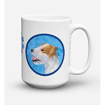 Jack Russell Terrier diskmaskin säkra mikrovågssäker keramisk kaffe Mugg 15 uns S